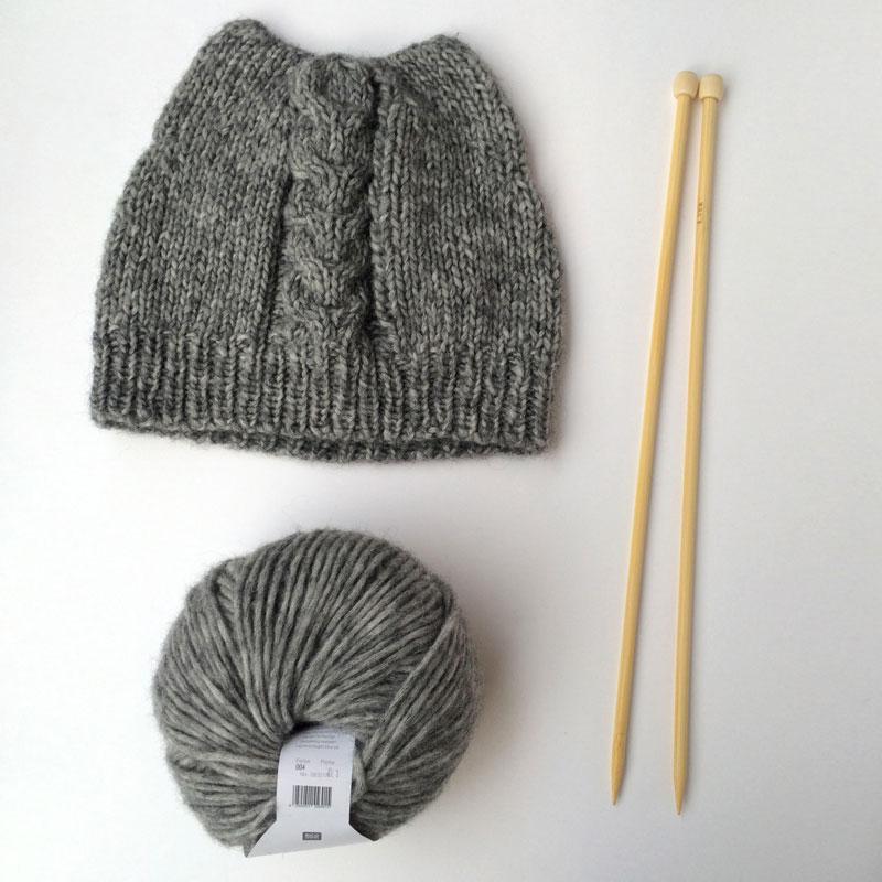 Bonnet chat en laine bisous