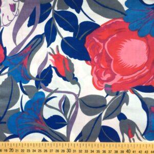 Tissu fleurs rouges