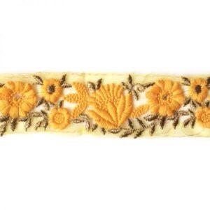 Ganse résille brodée fleur jaune et or