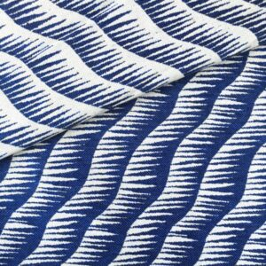 Tissu jacquard vague bleu