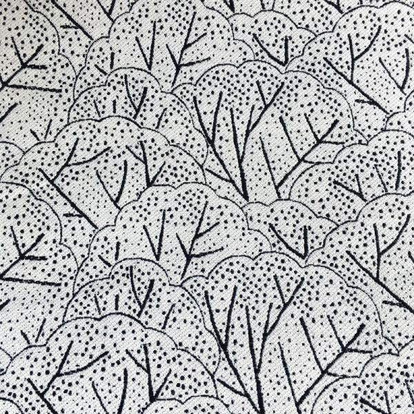 Tissu jacquard arbre noir et blanc