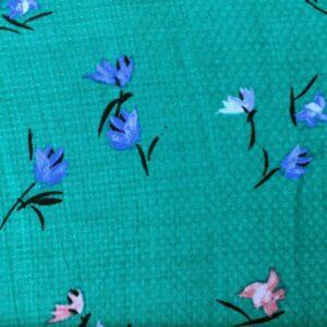 Tissu mimosa fleurs vertes