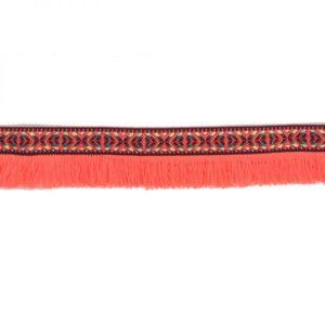 Ruban à franges rouge fluo x10cm