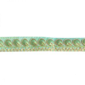 Ganse brodée petite plume vert pistache