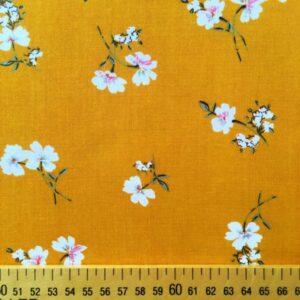 Tissu fleur moutarde