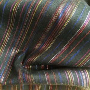 Tissu noir rayé multico