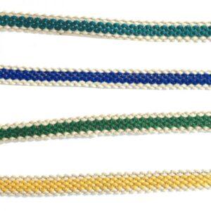 Ganse brodée bicolore bleu et blanc x10cm