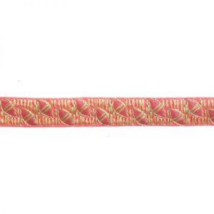 Ganse brodée graphique rose x10cm