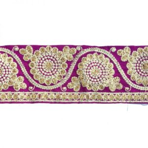 Ganse brodée fleuris violet, blanc, or x10cm