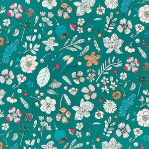 Tissu enduit fleuris fond vert