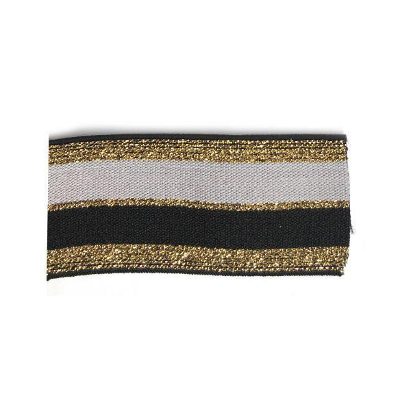 Elastique rayé noir nude & gold
