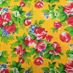 Tissu roses fond jaune
