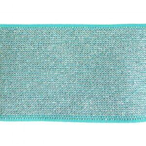 Élastique turquoise, lurex argent