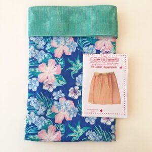 Kit jupe pastel exotique élastique turquoise lurex
