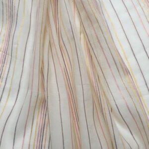 Tissu à rayures pastels et lurex
