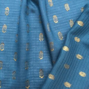 Tissu maxi pois gold bleu canard