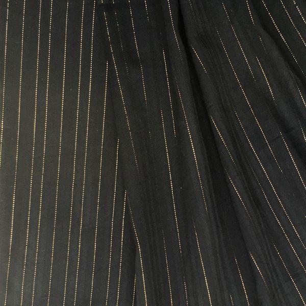 Tissu multi pois et rayures lurex dorées