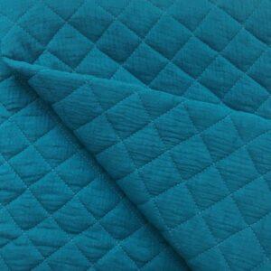 tissu double gaze gaufrée matelassée paon