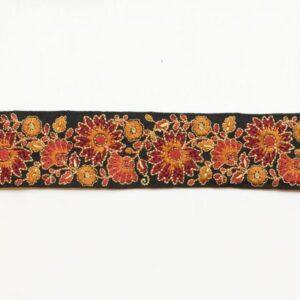 Ganse brodée fleurs ocre x10cm