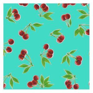 toile cirée cerises fond turquoise
