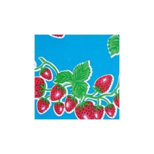 Toile Cirée fraises fond bleu