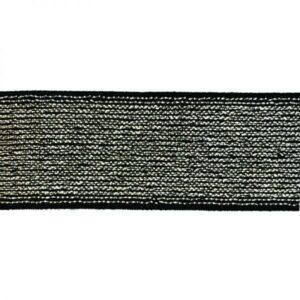 Élastique lurex argenté et fond noir