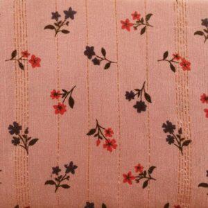 Tissu vieux rose rayé lurex et petites fleurs