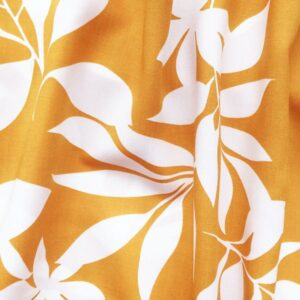 Tissu feuillage moutarde