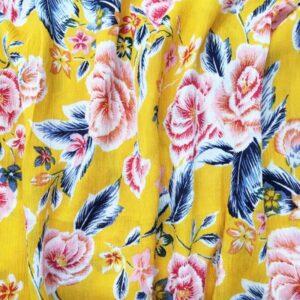 Tissu crépon jaune