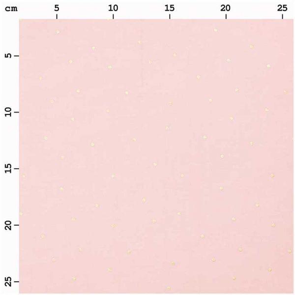 Tissu popeline rose boudoir pois or