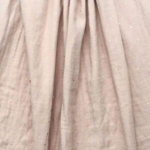 tissu double gaze vieux rose à petit motif or