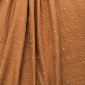 tissu double gaze ocre à petit motif or