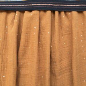 Kit jupe longue gris à pois or et joli élastique bleu et vert
