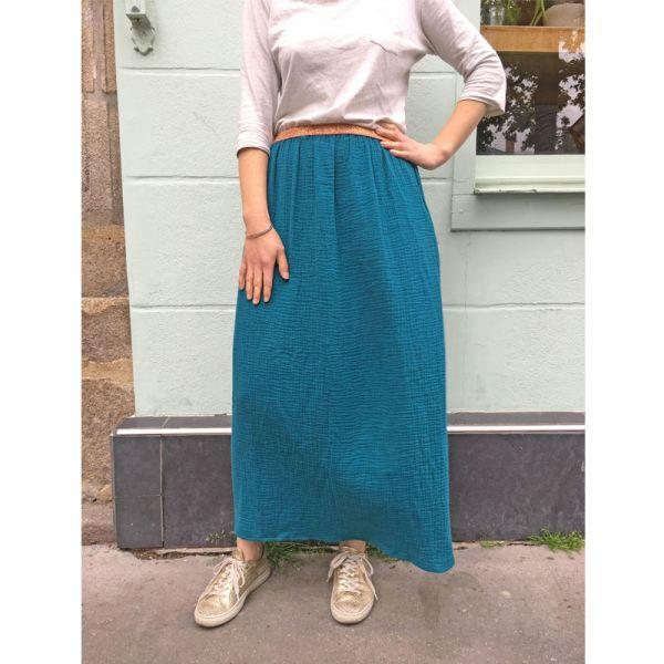 Kit jupe longue écru / or et élastique écru lurex or