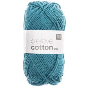 Pelote coton aran bleu pétrole