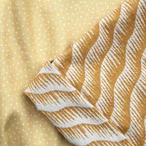 Tissu lin jaune miel à pois