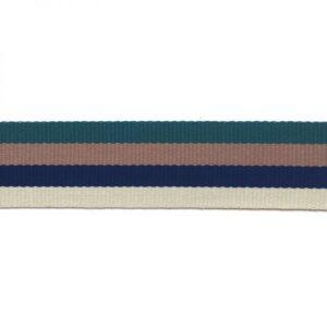 Sangle rayée écrue, bleue, verte et marron clair