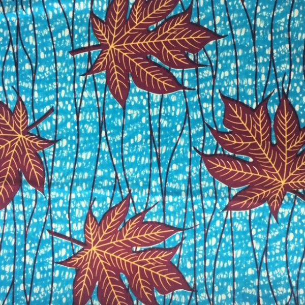 Tissu wax feuilles