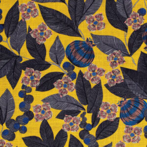 Tissu lin viscose fruit du paradis fond jaune