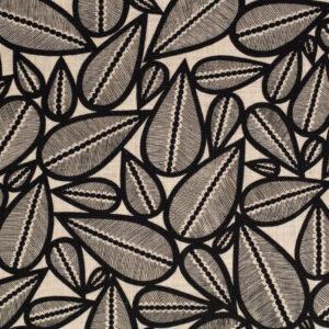 Tissu lin viscose Lima noir fond crème